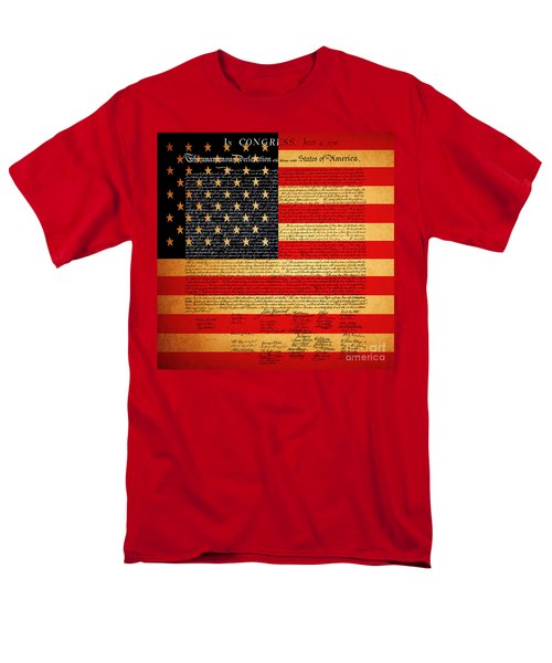 The United States Declaration of Independence - American Flag - square T-Shirt by Wingsdomain Art and Photography