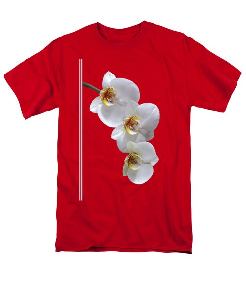 White Orchids On Terracotta Vdertical Men's T-Shirt  (Regular Fit) by Gill Billington