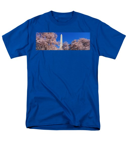 Cherry Blossoms Washington Monument Men's T-Shirt  (Regular Fit) by Panoramic Images