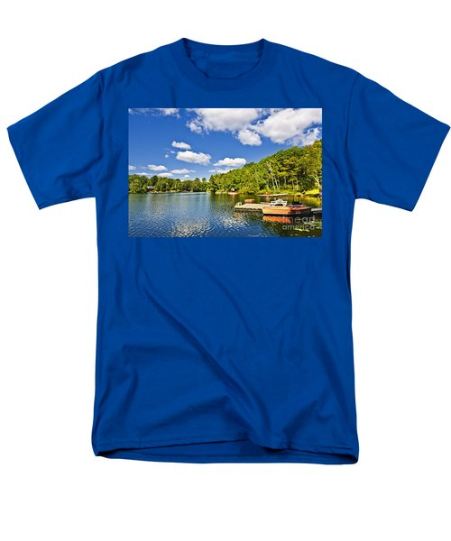 Cottages on lake with docks T-Shirt by Elena Elisseeva