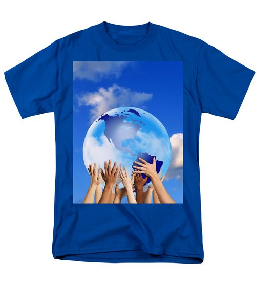 Hands Touching A Globe T-Shirt by Don Hammond