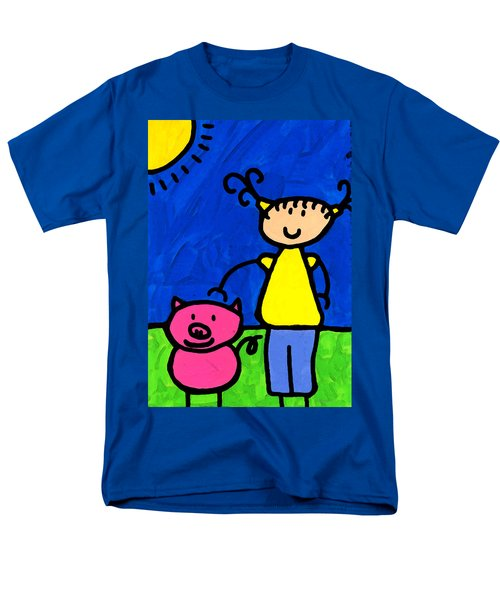Happi Arte 1 - Girl With Pink Pig Art T-Shirt by Sharon Cummings