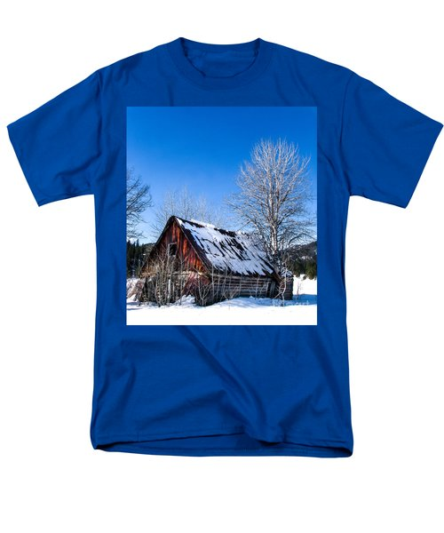 Snowy Cabin T-Shirt by Robert Bales