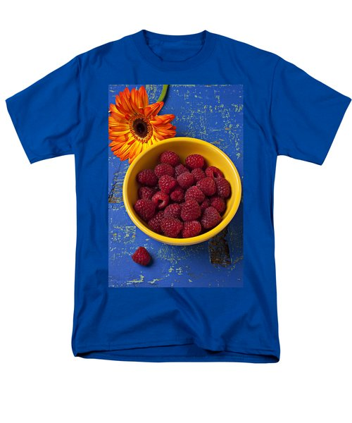 Raspberries in yellow bowl T-Shirt by Garry Gay