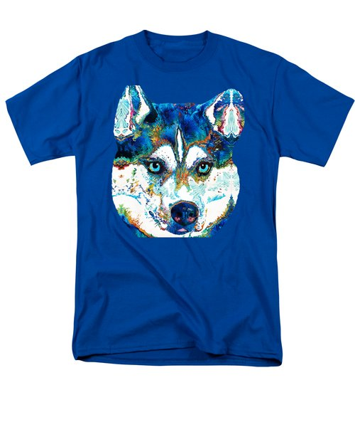 Colorful Husky Dog Art By Sharon Cummings Men's T-Shirt  (Regular Fit) by Sharon Cummings