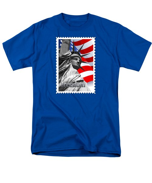 Graphic Statue Of Liberty With American Flag Text Freedom Men's T-Shirt  (Regular Fit) by Elaine Plesser