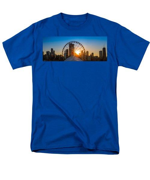 Navy Pier Sundown Chicago Men's T-Shirt  (Regular Fit) by Steve Gadomski