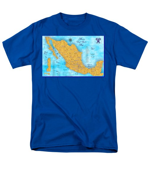 Mexico Surf Map  Men's T-Shirt  (Regular Fit) by Lucan Hirales