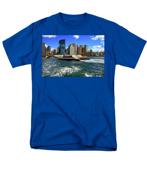 Sydney Skyline From Harbor By Kaye Menner Men's T-Shirt  (Regular Fit) by Kaye Menner