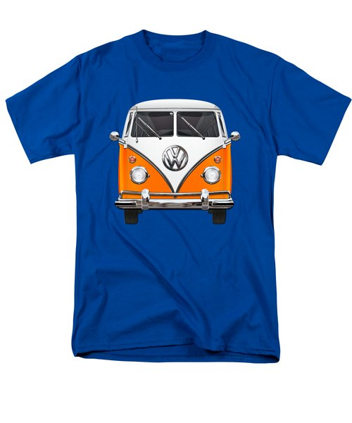 Volkswagen Type - Orange And White Volkswagen T 1 Samba Bus Over Blue Canvas Men's T-Shirt  (Regular Fit) by Serge Averbukh