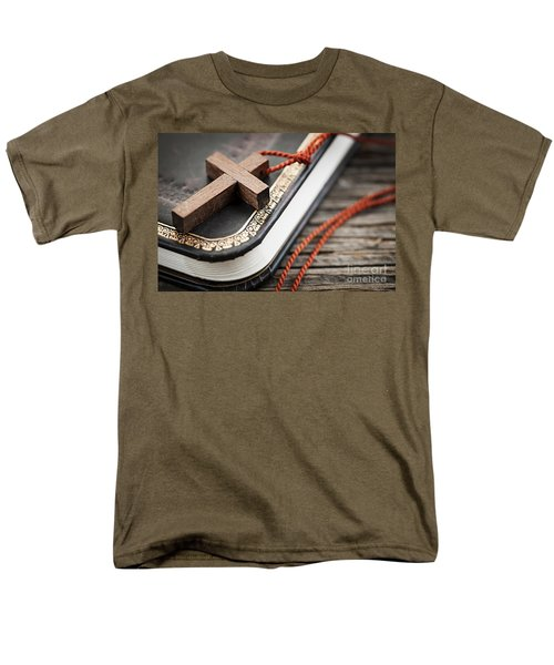 Cross on Bible T-Shirt by Elena Elisseeva