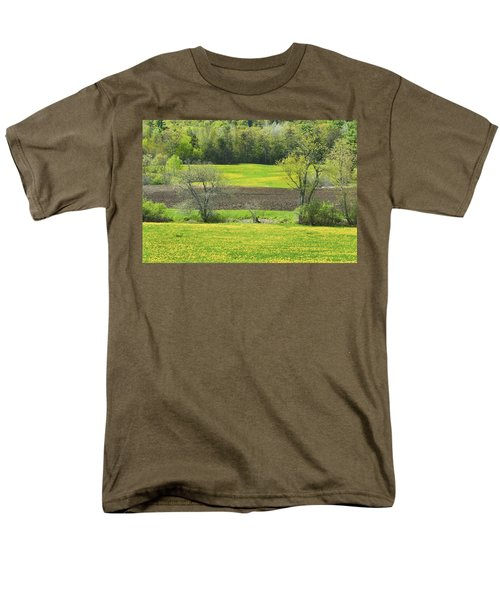 Spring Farm Landscape With Dandelion bloom in Maine T-Shirt by Keith Webber Jr