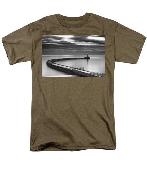 A Curving Pier With A Lighthouse At The T-Shirt by John Short