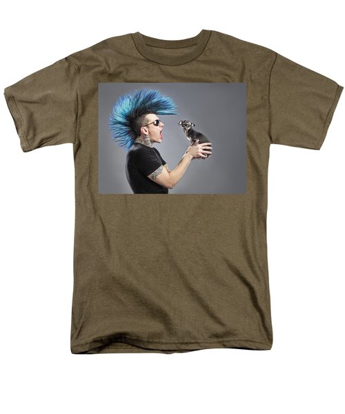 A Man With A Blue Mohawk Yells At His T-Shirt by Leah Hammond