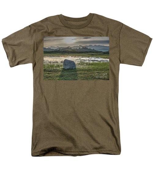 Men's T-Shirt  (Regular Fit) featuring the photograph A Yellowstone Sunrise And Hazy Morning Ridges by Bill Gabbert
