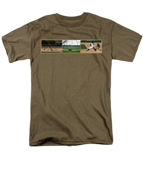 Baseball Playing Hard 3 Panel Composite 01 T-Shirt by Thomas Woolworth