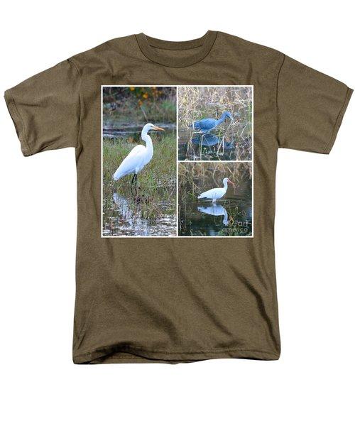 Birds On Pond Collage Men's T-Shirt  (Regular Fit) by Carol Groenen