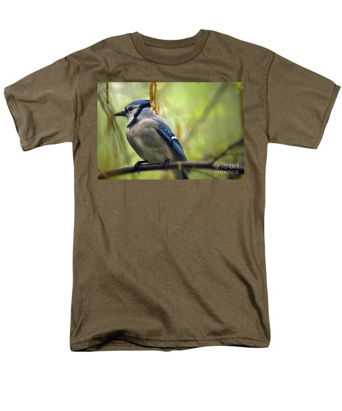 Blue Jay On A Misty Spring Day Men's T-Shirt  (Regular Fit) by Lois Bryan