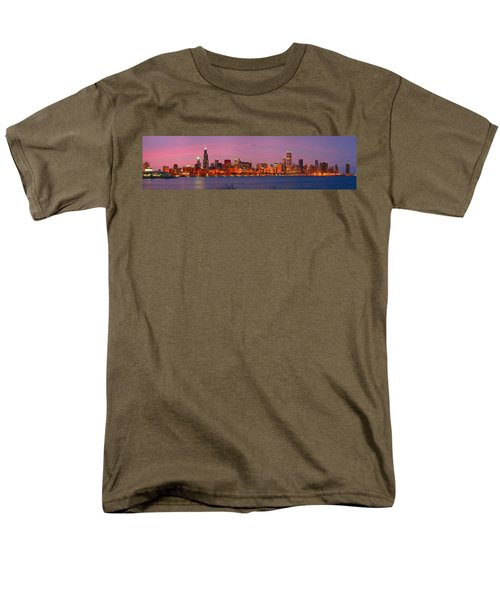 Chicago Skyline At Dusk 2008 Panorama Men's T-Shirt  (Regular Fit) by Jon Holiday