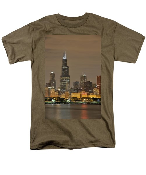 Chicago Skyline At Night Men's T-Shirt  (Regular Fit) by Sebastian Musial