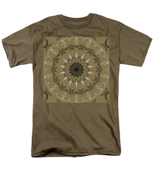 Coffee Flowers 3 Olive Ornate Medallion T-Shirt by Angelina Vick