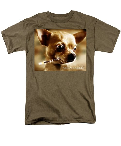 Hollywood Fifi Chika Chihuahua - Electric Art - With Text T-Shirt by Wingsdomain Art and Photography