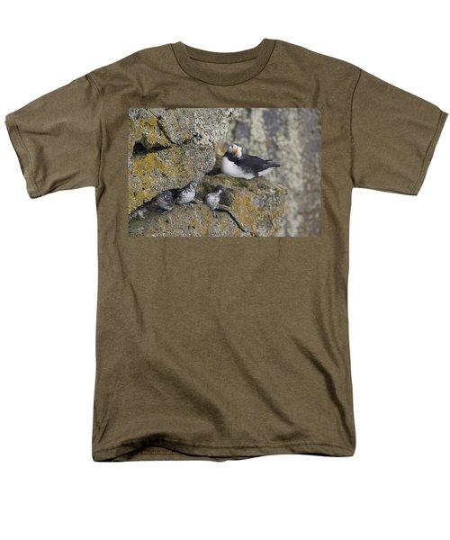 Least Auklets Perched On A Narrow Ledge Men's T-Shirt  (Regular Fit) by Milo Burcham