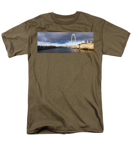 London Eye At South Bank, Thames River Men's T-Shirt  (Regular Fit) by Panoramic Images