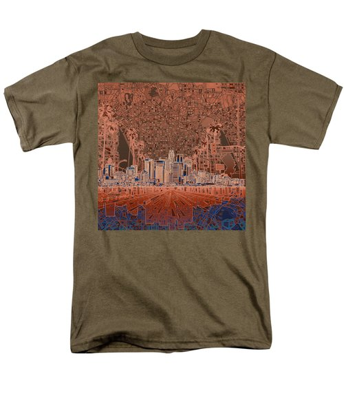 Los Angeles Skyline Abstract 7 Men's T-Shirt  (Regular Fit) by Bekim Art