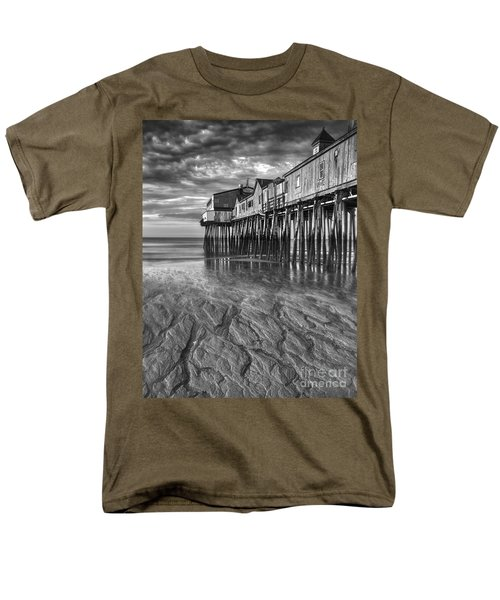 Low Tide at Orchard Beach Black and White T-Shirt by Jerry Fornarotto