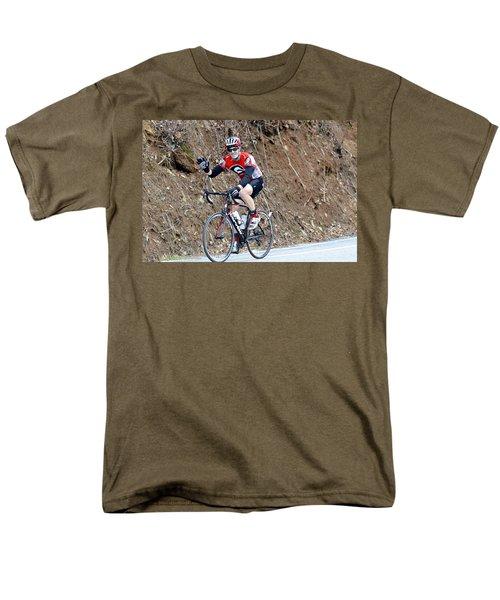 Man Riding Bike in a Race T-Shirt by Susan Leggett