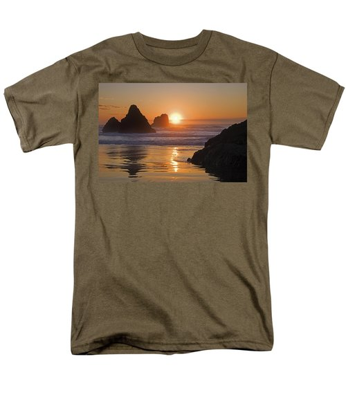 Orange Sunset Behind Offshore Rocks T-Shirt by Philippe Widling