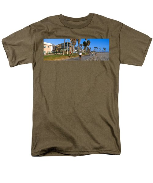 People Riding Bicycles Near A Beach Men's T-Shirt  (Regular Fit) by Panoramic Images