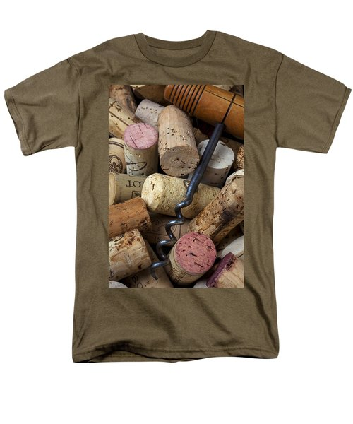 Pile of wine corks with corkscrew T-Shirt by Garry Gay