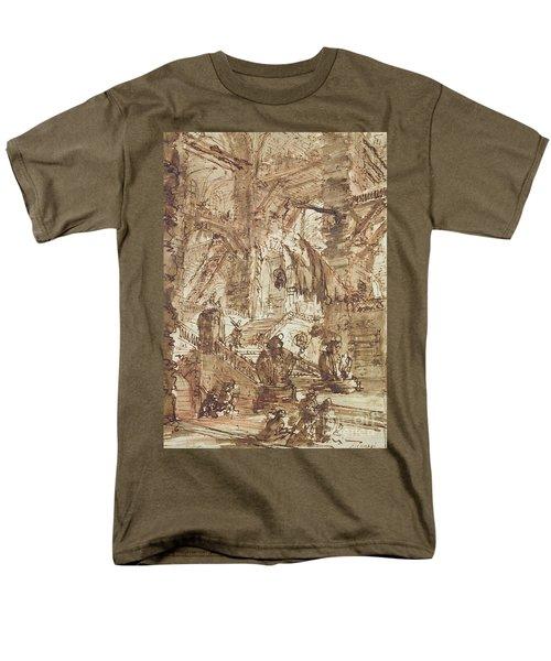Preparatory Drawing For Plate Number Viii Of The Carceri Al'invenzione Series Men's T-Shirt  (Regular Fit) by Giovanni Battista Piranesi