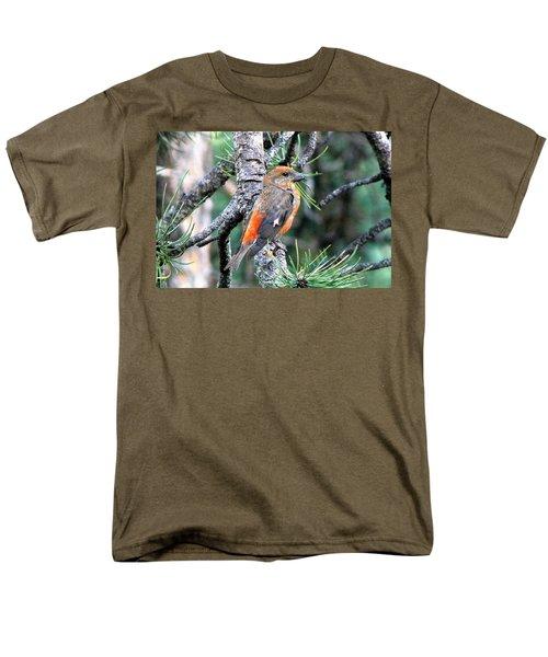 Red Crossbill On Pine Tree Men's T-Shirt  (Regular Fit) by Marilyn Burton