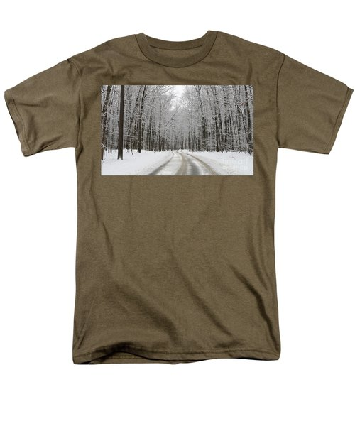 Snowy Road In Oak Openings 7058 Men's T-Shirt  (Regular Fit) by Jack Schultz