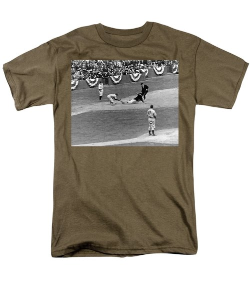 Spud Chandler Is Out At Third In The Second Game Of The 1941 Wor Men's T-Shirt  (Regular Fit) by Underwood Archives