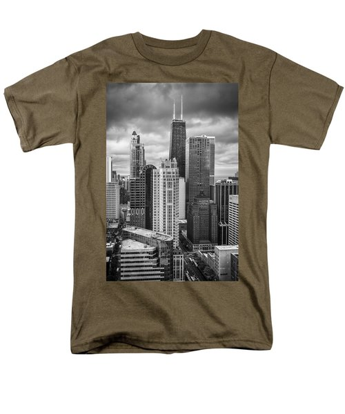 Streeterville From Above Black And White Men's T-Shirt  (Regular Fit) by Adam Romanowicz