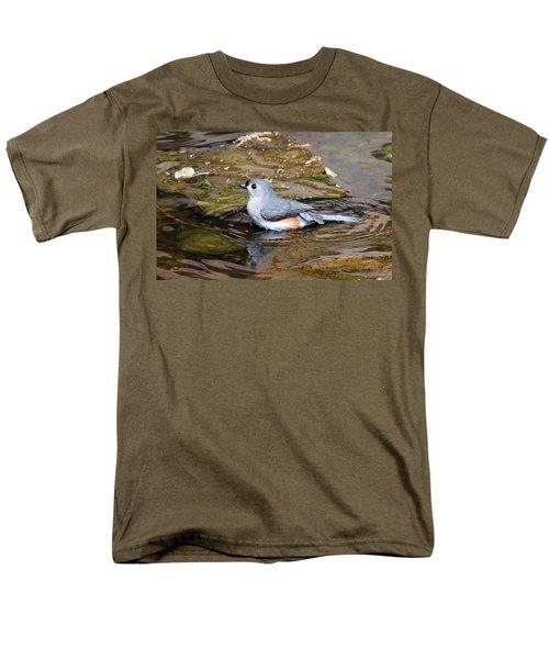 Tufted Titmouse In Pond II Men's T-Shirt  (Regular Fit) by Sandy Keeton