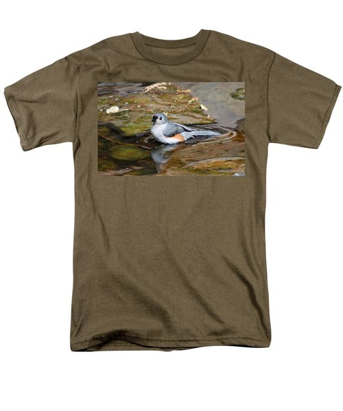 Tufted Titmouse In Pond Men's T-Shirt  (Regular Fit) by Sandy Keeton