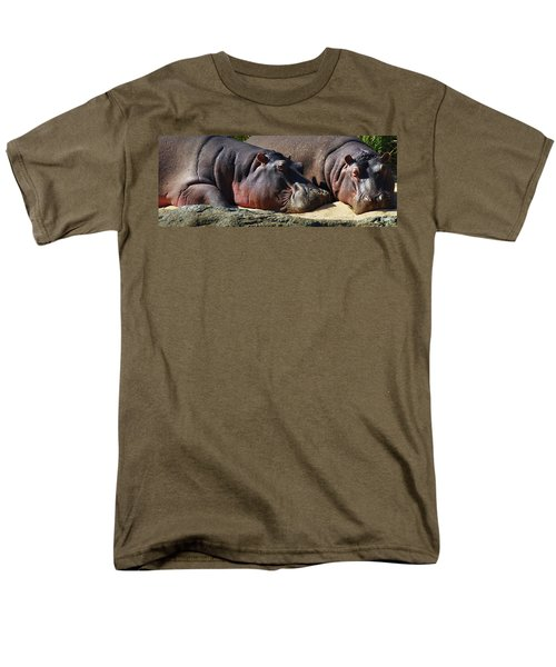 Two Hippos Sleeping On Riverbank Men's T-Shirt  (Regular Fit) by Johan Swanepoel