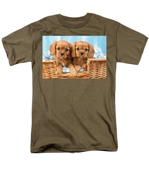 Two Puppies in Woven Basket DP709 T-Shirt by Greg Cuddiford