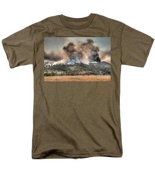 Men's T-Shirt  (Regular Fit) featuring the photograph Two Smoke Columns White Draw Fire by Bill Gabbert