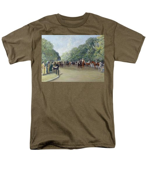 View Of Hyde Park With Figures On Rotten Row  Men's T-Shirt  (Regular Fit) by Albert Jnr Ludovici