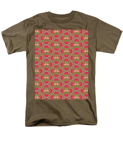 Watermelon Flamingo Print Men's T-Shirt  (Regular Fit) by Susan Claire
