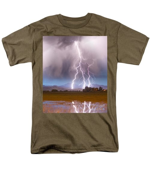 Lightning Striking Longs Peak Foothills 6 T-Shirt by James BO  Insogna