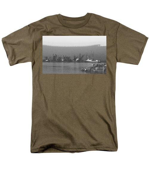 Boats in Harbor Charcoal T-Shirt by Chalet Roome-Rigdon