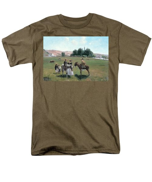 Donkey Ride Men's T-Shirt  (Regular Fit) by Camille Pissarro