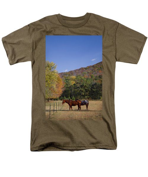 Horses and Autumn Landscape T-Shirt by Kathy Clark